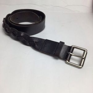 Talbot's leather braided belt in brown-Med